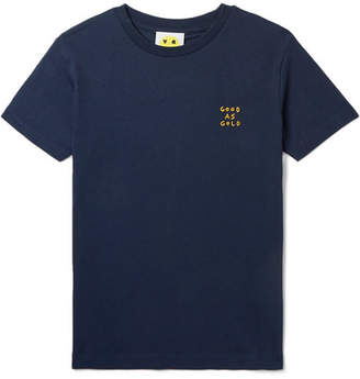 Yeah Right NYC Kids - Ages 3 - 12 Good As Gold Embroidered Organic Cotton-jersey T-shirt