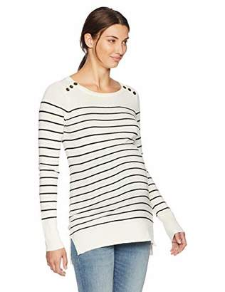 Motherhood Maternity Women's Maternity Long Sleeve Boat Neck Tunic Sweater with Button Detail
