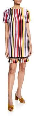 Aidan Mattox Striped Crewneck T-Shirt Dress w/ Tassel Hem