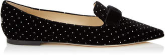 Jimmy Choo GALA Black Glitter Spotted Velvet Pointy Toe Flats with Bow Detail