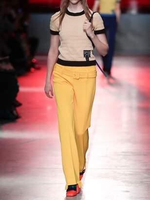 Prada Ruffled Hem Jersey Pants W/ Belt