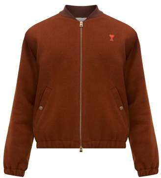 Logo Patch Wool Blend Bomber Jacket - Mens - Brown