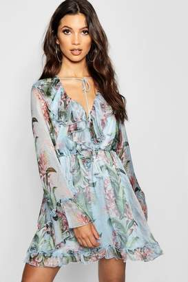 boohoo Floral Print Flared Sleeve Frill Skater Dress