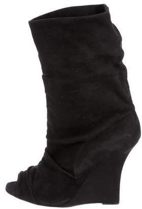 Manolo Blahnik Peep-Toe Wedge Boots