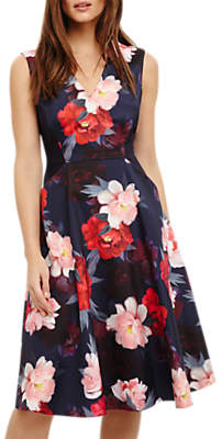 Phase Eight Elba Fit and Flare Floral Dress, Navy