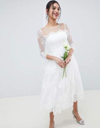 Asos Edition EDITION Lace Long Sleeve Midi Prom Wedding Dress