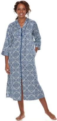 Miss Elaine Women's Essentials Floral Tile Satin Robe