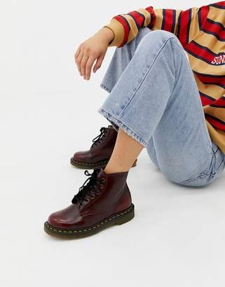 Dr. Martens Vegan 1460 Red Chrome Flat Ankle Boots