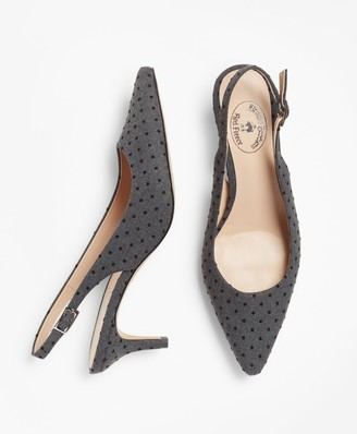 Brooks Brothers Polka-Dot Sling-Back Kitten Heel Pumps