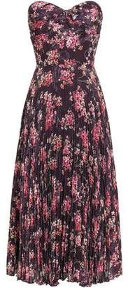 Anna Sui Pleated Floral-print Fil Coupe Silk-blend Midi Dress