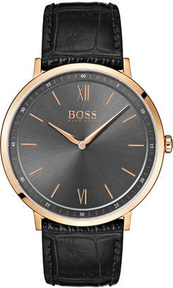 BOSS Hugo Men's Essential Ultra Slim Black Leather Strap Watch 40mm
