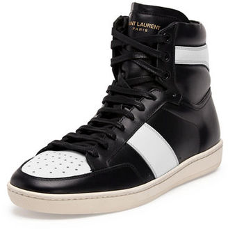 Saint Laurent Contrast-Stripe Leather High-Top Sneaker $645 thestylecure.com