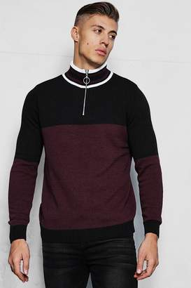 boohoo Half Zip Funnel Neck Colour Block Jumper
