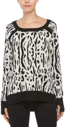 Pam & Gela Wool Tiger Intarsia High-Low Sweater