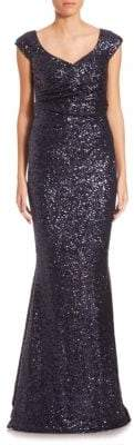 Talbot Runhof Sequin V-Neck Gown