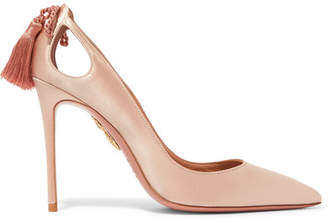 Aquazzura Forever Marilyn Cutout Tasseled Satin Pumps - Blush