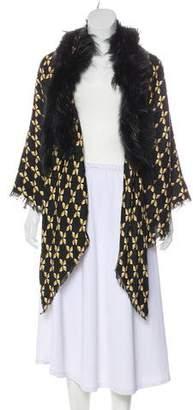 Fendi Wool & Silk Fur-Trimmed Scarf