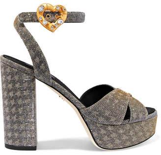 Dolce & Gabbana Embellished Lamé Platform Sandals - Silver