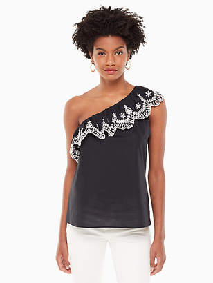 Kate Spade One shoulder cutwork top