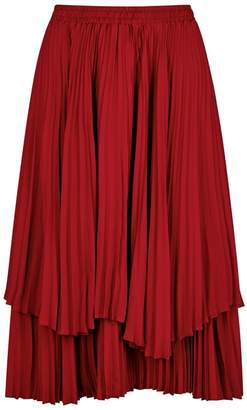 Clu Red Pleated Satin Skirt