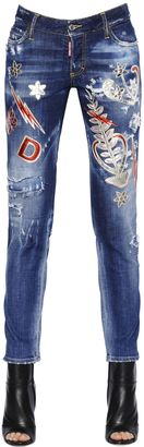 Patches Embellished Stretch Denim Jeans $1,355 thestylecure.com