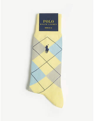 Polo Ralph Lauren Argyle print cotton-blend socks