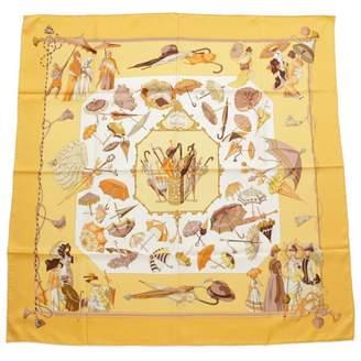 Hermes Carre 90 Yellow Silk Silk handkerchief
