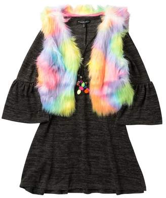My Michelle mymichelle Bell Sleeve Dress, Rainbow Faux Fur Vest & Necklace (Big Girls)