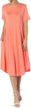 TheMogan Women's Short Sleeve Pocket A-Line Fit and Flare Midi Dress S