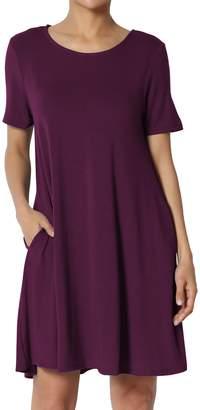 TheMogan Women's Round Neck Short Sleeve Pocket Flared Long Tunic Top M