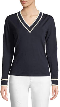 Escada V-Neck Long-Sleeve Wool Sweater w/ Contrast Tipping