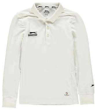 Slazenger Kids L S Crkt Shirt Juniors Cricket Long Sleeve T Tee Top