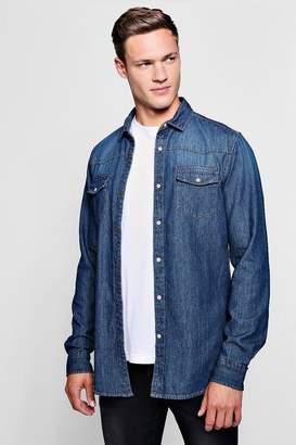 boohoo Long Sleeve Denim Western Shirt