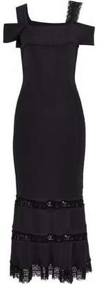 Roland Mouret Bramley Lace-Trimmed Cutout Ribbed-Knit Midi Dress