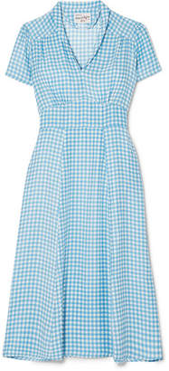 Morgan HVN Gingham Silk Crepe De Chine Midi Dress - Blue