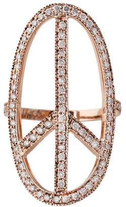 Jacquie Aiche Diamond Long Oval Peace Sign Ring - Rose Gold