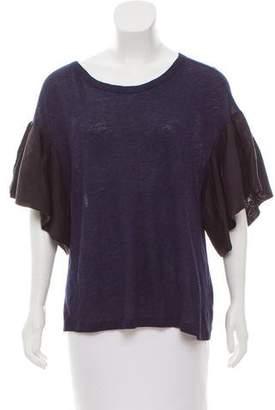 Clu Silk-Trimmed Short Sleeve Top