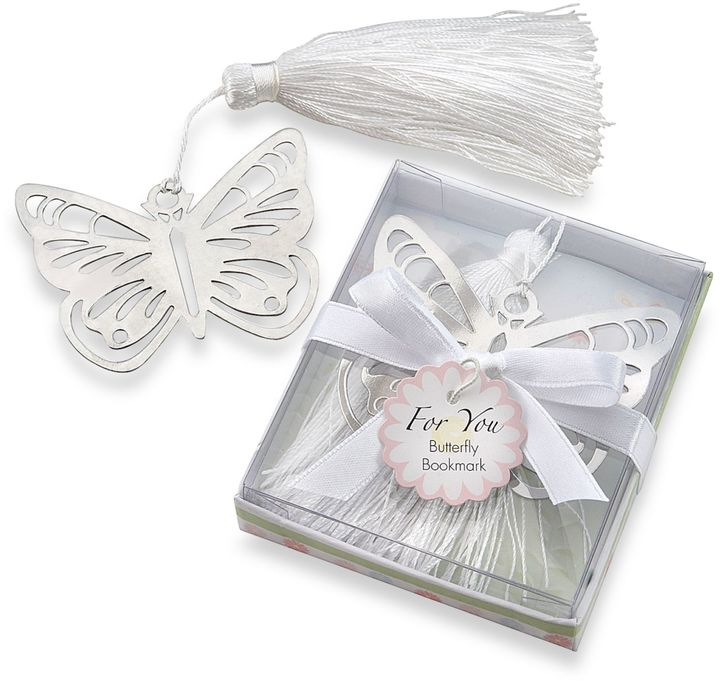 Bed Bath & Beyond Kate Aspen® Butterfly Silver-Metal Bookmark Favor with White Silk Tassel