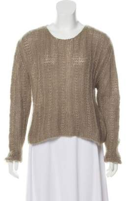 Calvin Klein Collection Knitted Cropped Sweater Beige Knitted Cropped Sweater
