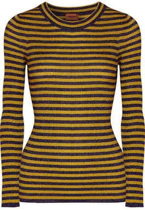 Missoni Striped Metallic Ribbed-knit Sweater - Yellow