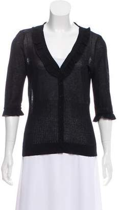Anne Fontaine Ruffled Knit Cardigan