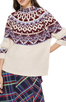 Topshop Reverse Fair Isle Sweater