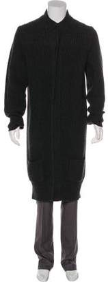 Black Fleece Wool Cardigan Coat