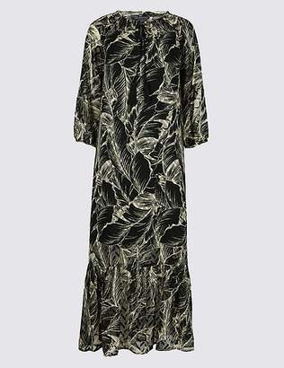 Marks and Spencer Palm Print 3/4 Sleeve Tunic Maxi Dress