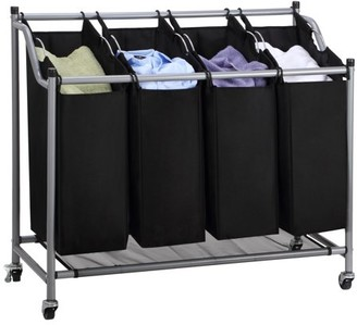 Laundry by Shelli Segal Mllieroo Heavy-Duty 4-Bag Rolling Sorter Storage Cart with Wheels chromedBlack