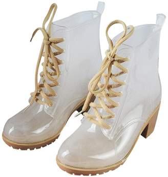 Luise Hoger Rain Boots Women Ankle Rubber Boots Thick High Heels Shoes Woman Lace Up Transparent Rainboots Size 36-41 8.5