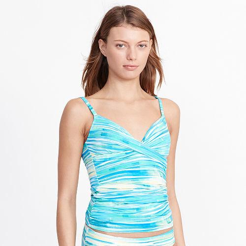 Ralph Lauren Lauren Striped V-Neck Tankini Top