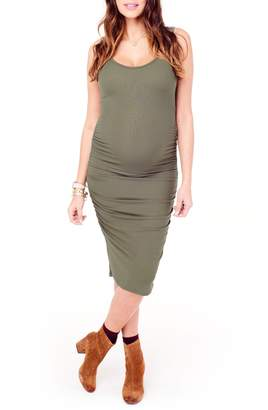 Ingrid & Isabel R) Shirred Midi Maternity Tank Dress