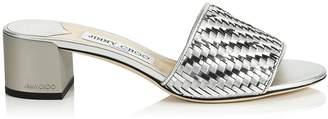Jimmy Choo JONI 40 Silver Woven Metallic Fabric Slides