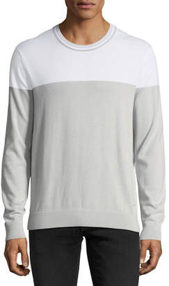 Michael Kors Lightweight Colorblock Pima Crewneck Sweater